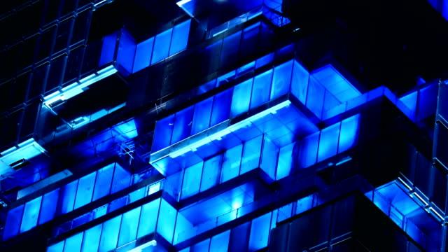 3k spettacolo di luce su edificio - albergo video stock e b–roll