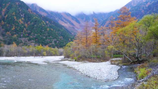 4k lockdown: kamikochi in autumn season, nagano, japan. - satoyama scenery stock videos & royalty-free footage