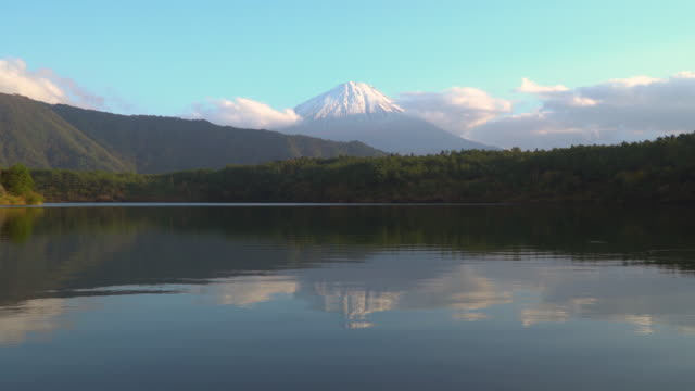 4k lockdown: Mt Fujisan in the sunset time at lake Saiko, Yamanashi, Japan.
