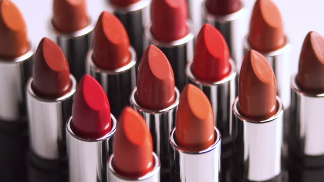 4k medium shot of turning of Lipsticks collection.