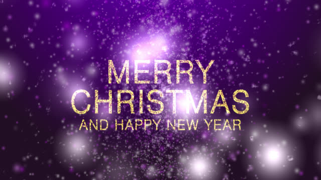 4k merry christmas with snow purple background - purple stock videos & royalty-free footage