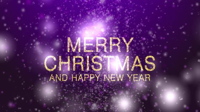 stockvideo's en b-roll-footage met 4k merry christmas met sneeuw paarse achtergrond - paars
