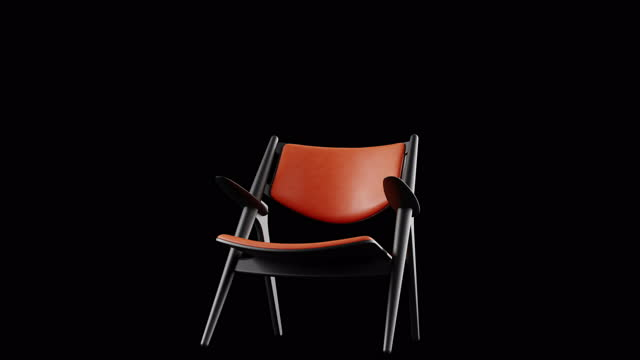 4k modern armchair orange leather and black wood. modern furniture. rotation. loop. copy space. - chair stock videos & royalty-free footage