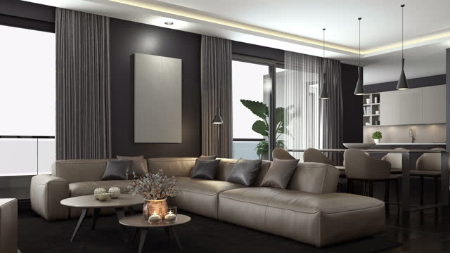 4k modern minimalist apartment interior. living room with kitchen and dining room. blank to textured room concept. - indoors stock videos & royalty-free footage