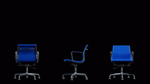 4k modern steel and blue leather office chair rotation. loop. black background. - chairperson stock videos & royalty-free footage