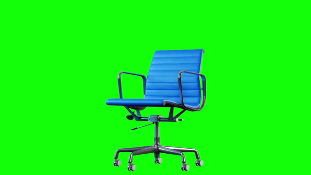 4k modern steel and blue leather office chair rotation. loop. chroma key green background. - chairperson stock videos & royalty-free footage