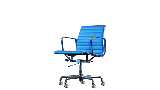 4k modern steel and blue leather office chair rotation. loop. white background. - chairperson stock videos & royalty-free footage