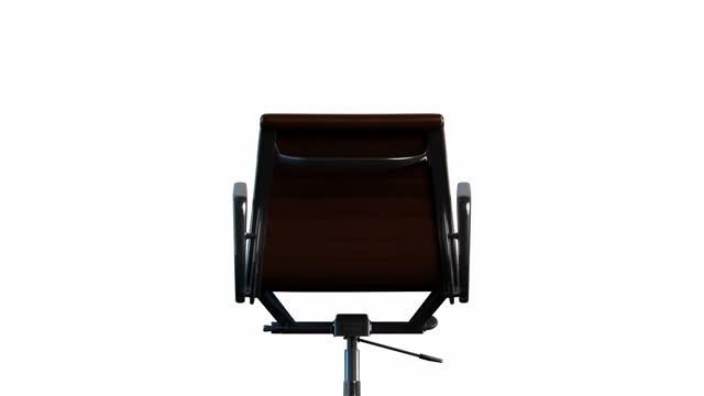 vídeos y material grabado en eventos de stock de 4k moderno acero y cuero silla de oficina rotación estática en el centro. bucle. fondo blanco. - presidente de organización