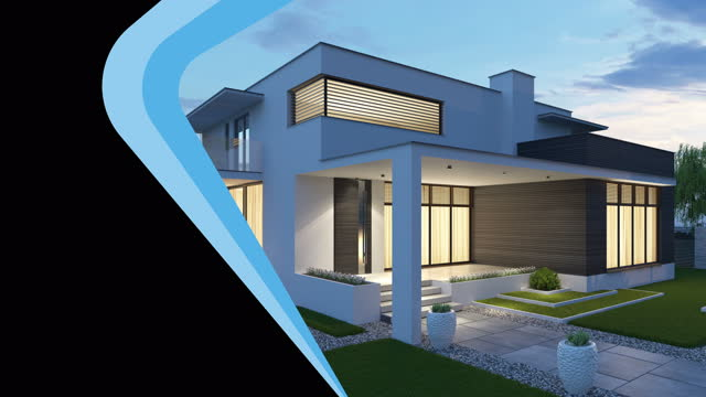 4k modern villa architecture presentation concept. intro advertising slideshow for real estate. copy space. - rebuilding stock videos & royalty-free footage