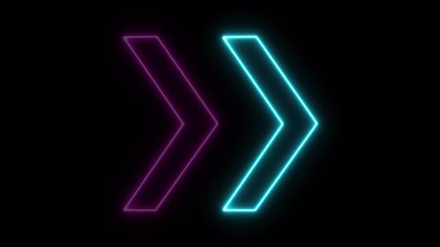 4k neon blue pink light arrow direction on black blackgroud - geometric stock videos & royalty-free footage