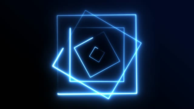 vídeos de stock e filmes b-roll de 4k neon square lights background seamless loop - square