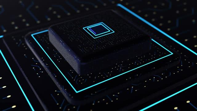 4k - ネオンテーマ回路基板処理情報コンセプトループ可能 - 青 - 中央演算処理装置点の映像素材/bロール