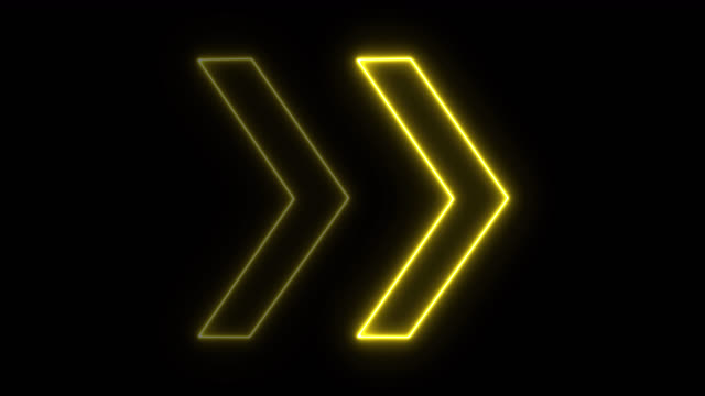 4k neon yellow light arrow direction on black blackgroud - neon stock videos & royalty-free footage
