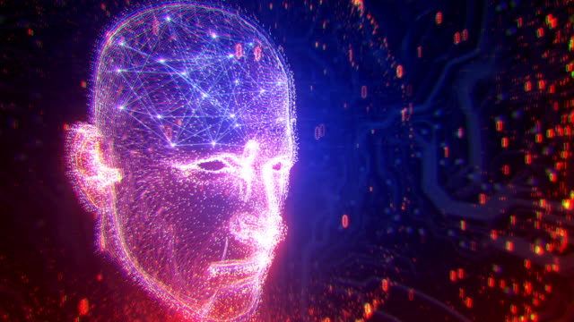 4k neural network - artificial intelligence, deep learning, singularity, turing test (multi colored) - biomedical animation video stock e b–roll