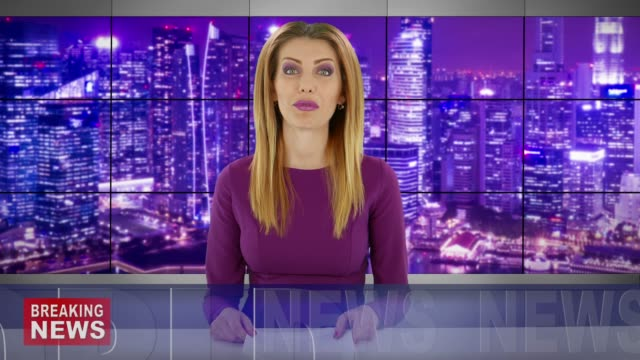 4k newscaster reading the breaking news - tv reporter stock videos & royalty-free footage