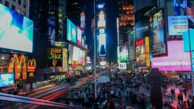 4k night timelapse at Times Square, New York with tilt up and movement