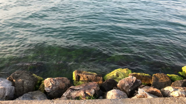 vídeos de stock, filmes e b-roll de 4k oceano e rochas - quebra mar