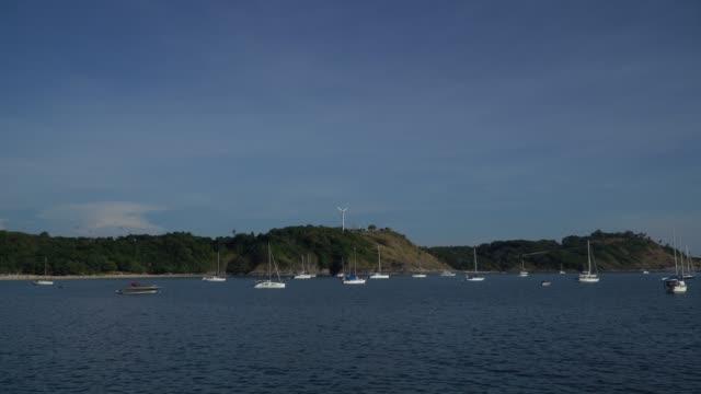 4k of yachts on coastline.