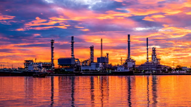 4k oil refinery - petrochemical plant timelapse at sunrise with reflection - gas pipe stock videos and b-roll footage