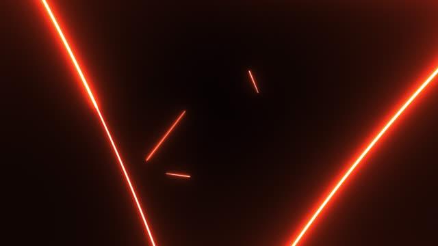 4k orange neon triangle shape lights background - triangle shape stock videos & royalty-free footage