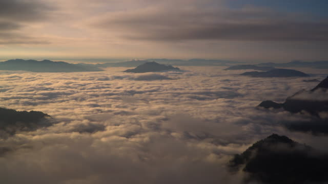4k Panning shot, Aerial view of fog in the morning.