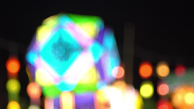vídeos de stock e filmes b-roll de 4k paper lantern festival on yeepeng festival in thailand - lanterna de papel
