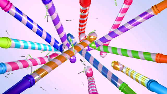 4k party horn blower and confetti background animation