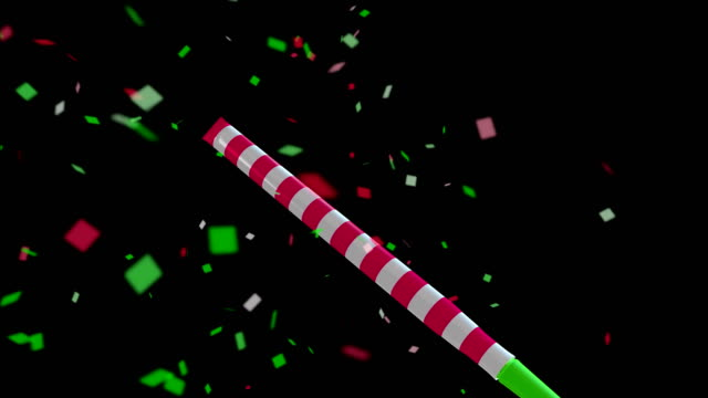4k party horn blower and confetti background or overlay animation with travel matte