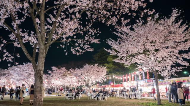 vídeos y material grabado en eventos de stock de 4 k : la gente disfruta de cerezo flores (sakura) en park, sendai - picnic