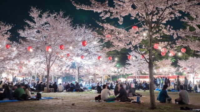 4k: mensen genieten van kersenbloesem (sakura) in Park, Sendai