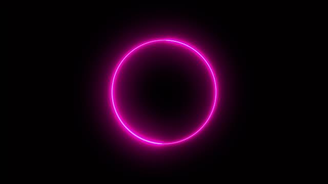 stockvideo's en b-roll-footage met 4k roze neon circle lichten achtergrond - magenta