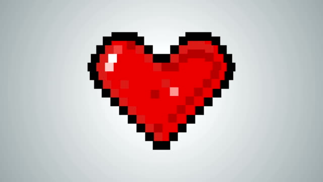 4k pixelated heart shape beating animation - falling in love stock videos and b-roll footage