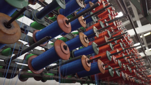 4k : production of nylon thread in a factory - textile stock videos & royalty-free footage