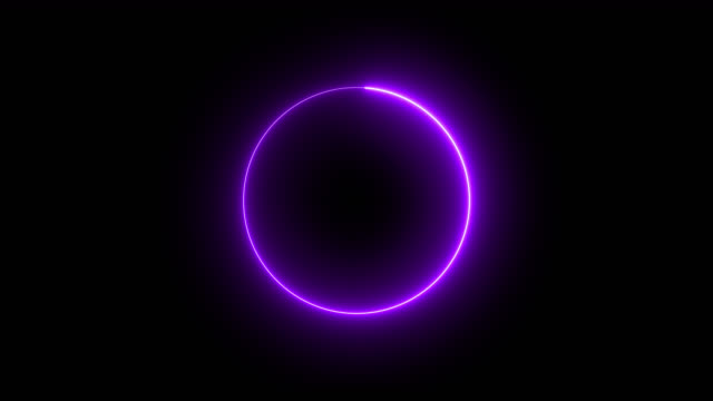 4k purple neon circle lights background - neon colored stock videos & royalty-free footage