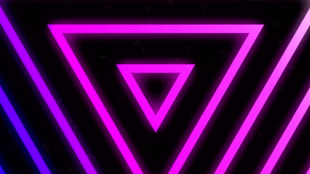 4k purple neon light triangles background - neon colored stock videos & royalty-free footage