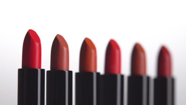 4k rack focus of lipstick row. - extreme close up stock videos & royalty-free footage