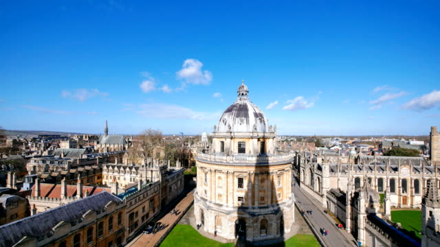 4k radcliffe camera, oxford university, england uk- time-lapse - oxford england stock videos & royalty-free footage