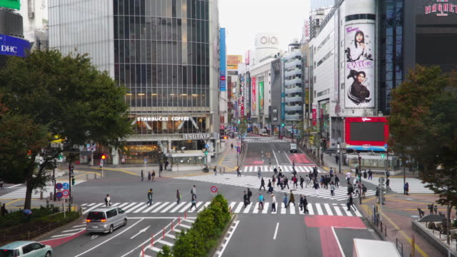 4k real time: shibuya crossing in tokyo, japan. - busy morning stock videos & royalty-free footage