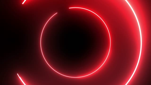 4k red neon circle lights background - neon stock videos & royalty-free footage