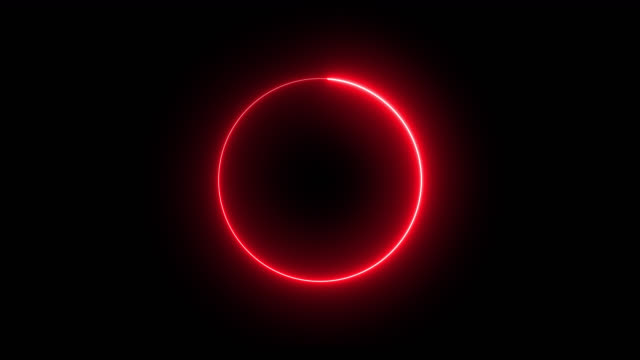 4k red neon circle lights background - computer graphic video stock e b–roll