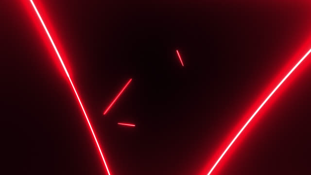 4k red neon triangle shape lights background - computer graphic video stock e b–roll