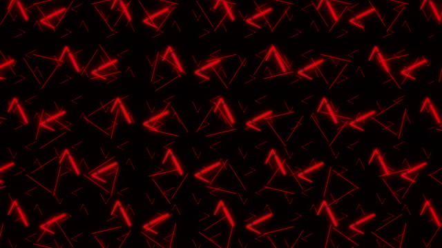 vídeos de stock e filmes b-roll de 4k red triangle abstract pattern background - dance music