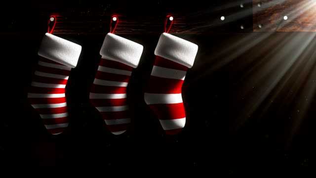 4k resolution 3d rendering red and white christmas socks overlay and background with travel matte - competitive sport stock videos & royalty-free footage