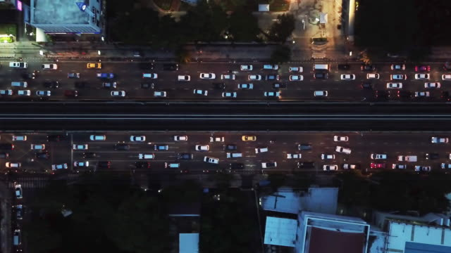 4k resolution aerial view of city traffic jam in bangkok city - ingorgo stradale video stock e b–roll