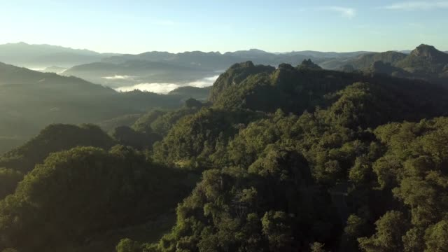 4k resolution aerial view of mountains with foggy morning at chiangmai province in north of thailand - annapurna range stock videos and b-roll footage