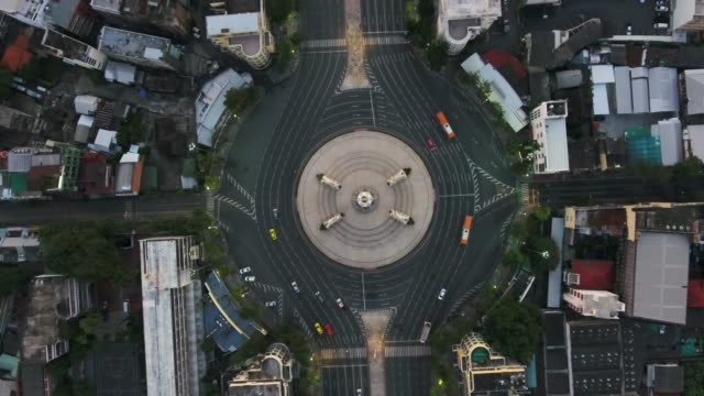 4k resolution aerial view  traffic circle and morning city at democracy monument of bangkok the capital of thailand - democracy stock videos and b-roll footage