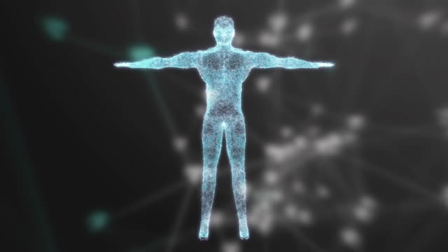 4k resolution animation of user body analysis and dna moving on dark background background for cyber futuristic concept - clonazione video stock e b–roll