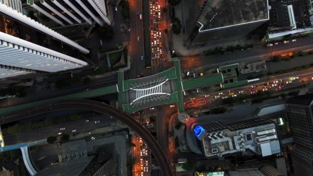 4k resolution Bangkok aerial crossroads traffic in Bangkok city,Thailand