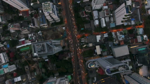 4k resolution bangkok aerial crossroads traffic in bangkok city,thailand - overpass road stock videos & royalty-free footage