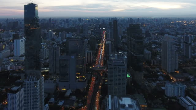 4k resolution Bangkok cityscape ariel view at morning